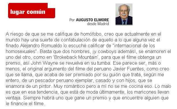 Columna de Augusto Elmore en Caretas