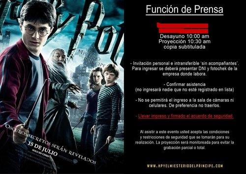 funcion de prensa Harry Potter 6