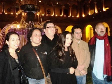 Inés Agresott, y de izq-der: Lorena Bianchini, Jaime Manrique, Magaly Solier, Gabriel Quispe, y Joao Garcao Borges