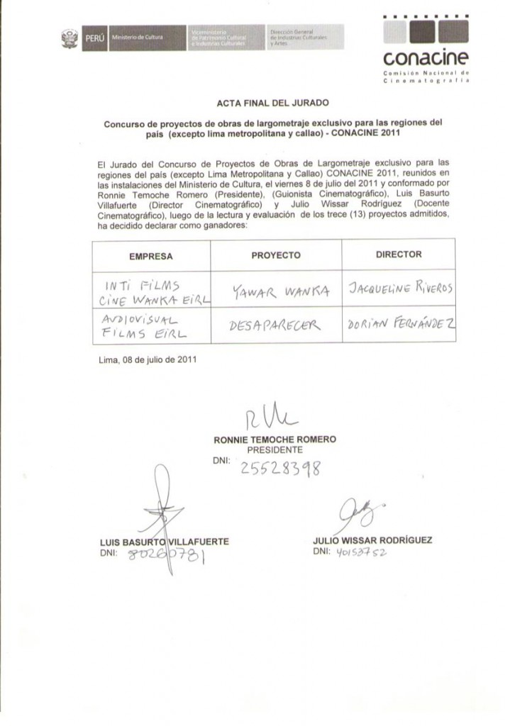 Acta ganadores conacine regiones 2011
