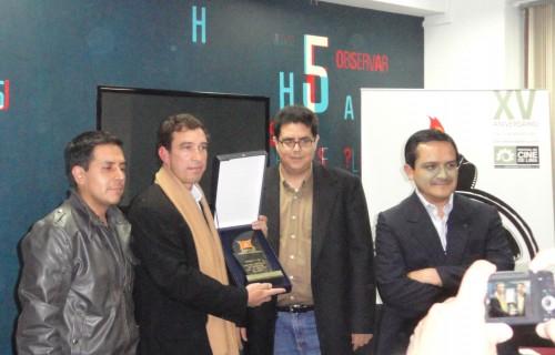 Entrega del Premio APRECI a la mejor ficción en competencia del 15 Festival de Lima