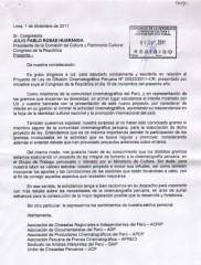 Carta al Congresista Julio Rosas - Ley de Cine Peru