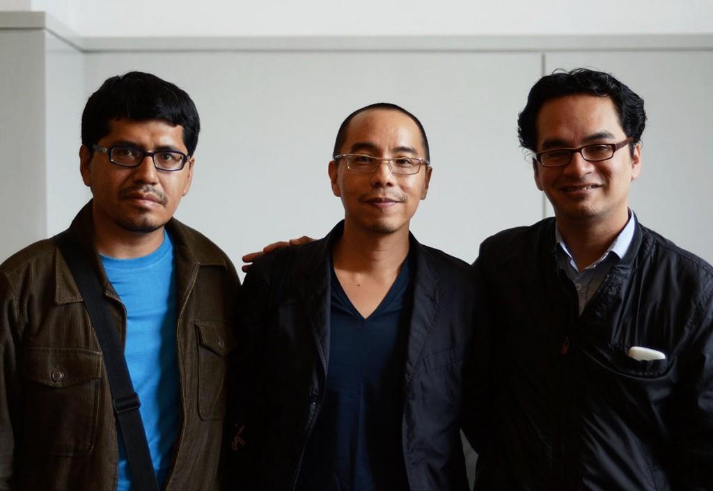 Laslo Rojas, Apichatpong Weerasethakul y Gabriel Quispe