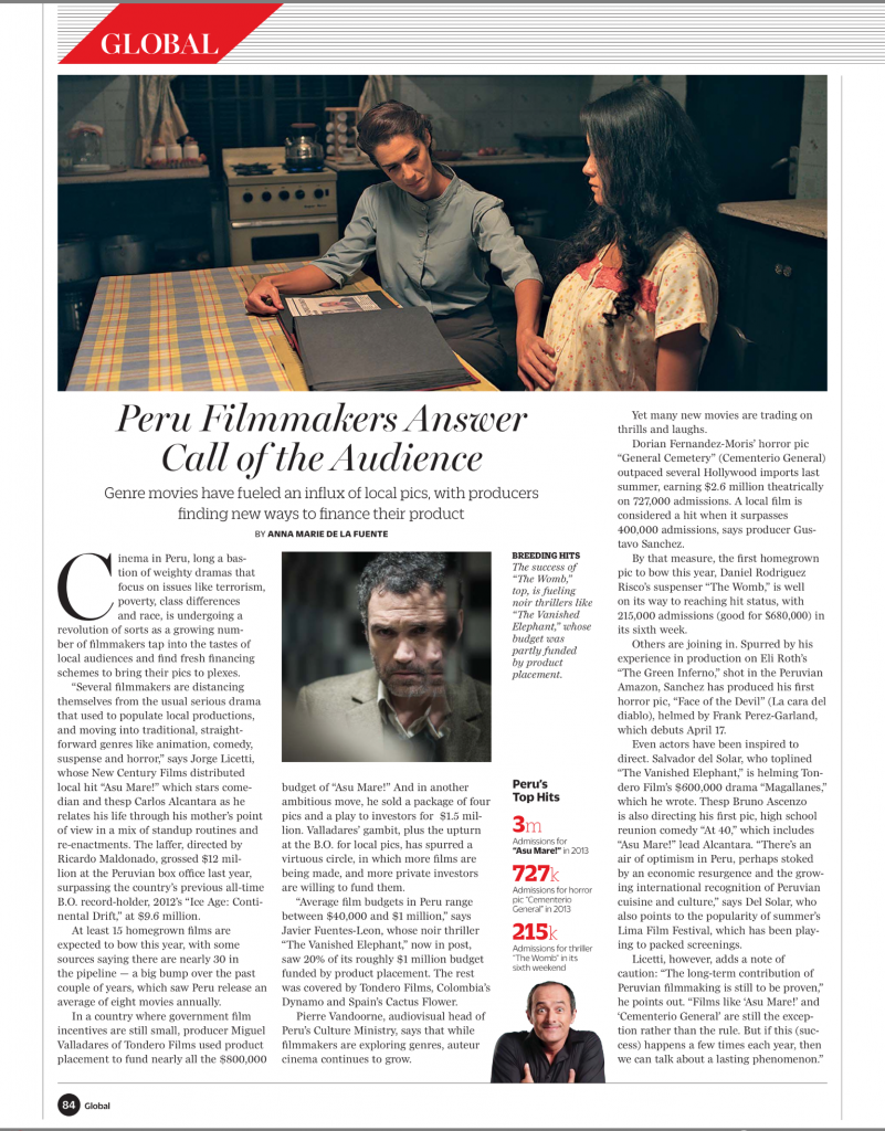 Peru Filmmakers Answer Call of the Audience - Cine peruano 2014 en Variety